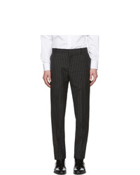 Pantalón chino de lana de rayas verticales en negro y blanco de Alexander McQueen