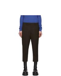 Pantalón chino de lana en marrón oscuro de Rick Owens
