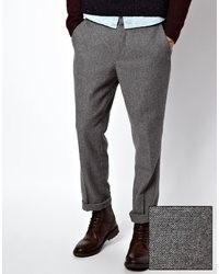 Pantalón chino de lana gris de Asos
