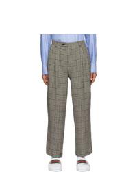 Pantalón chino de lino de pata de gallo negro de Gucci