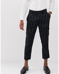 Pantalón chino de lino de rayas verticales azul marino de Devils Advocate