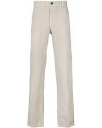 Pantalón chino de lino en beige de Massimo Alba