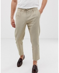 Pantalón chino de lino en beige de ONLY & SONS