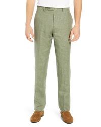 Pantalón chino de lino verde oliva