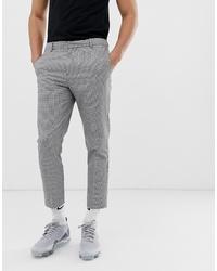 Pantalón chino de pata de gallo en negro y blanco de New Look