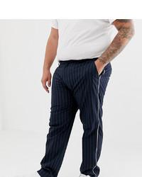 Pantalón chino de rayas verticales azul marino de ASOS DESIGN