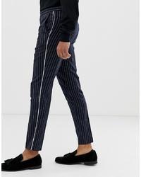 Pantalón chino de rayas verticales azul marino de Burton Menswear