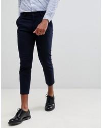 Pantalón chino de rayas verticales azul marino de Celio
