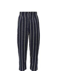 Pantalón chino de rayas verticales azul marino de KAPITAL