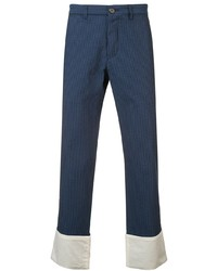 Pantalón chino de rayas verticales azul marino de Loewe