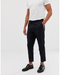 Pantalón chino de rayas verticales azul marino de New Look