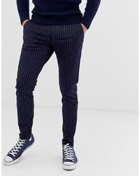 Pantalón chino de rayas verticales azul marino de ONLY & SONS
