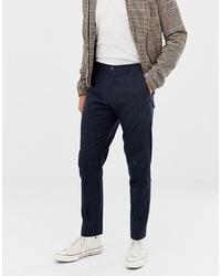 Pantalón chino de rayas verticales azul marino de Selected Homme