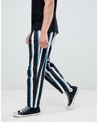 Pantalón chino de rayas verticales en negro y blanco de ASOS DESIGN