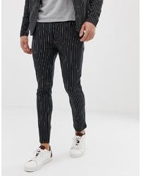 Pantalón chino de rayas verticales en negro y blanco de Jack & Jones