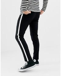 Pantalón chino de rayas verticales en negro y blanco de ONLY & SONS