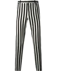 Pantalón Chino de Rayas Verticales Negro y Blanco de Dolce & Gabbana