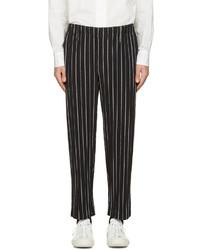 Pantalón Chino de Rayas Verticales Negro y Blanco