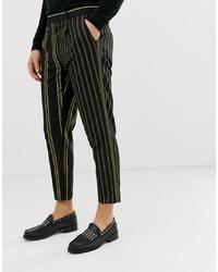 Pantalón chino de rayas verticales negro de ASOS Edition