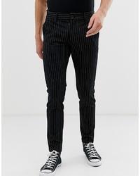Pantalón chino de rayas verticales negro de ONLY & SONS