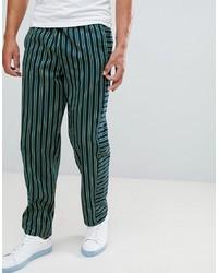 Pantalón chino de rayas verticales verde oscuro