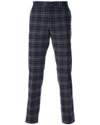 Pantalón chino de tartán azul marino