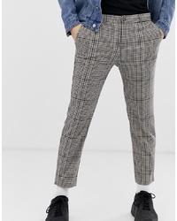Pantalón chino de tartán gris de Bershka