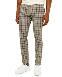 Pantalón chino de tartán marrón claro