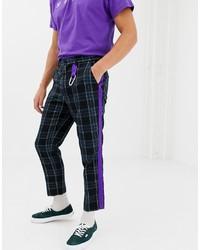 Pantalón chino de tartán negro