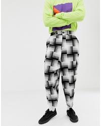 Pantalón chino en blanco y negro de ASOS DESIGN