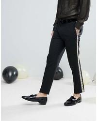 Pantalón chino en negro y blanco de Asos