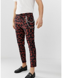 Pantalón chino en rojo y negro