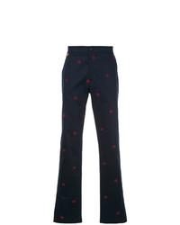 Pantalón chino estampado azul marino de Gieves & Hawkes