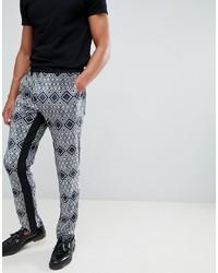 Pantalón chino estampado azul