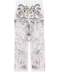 Pantalón chino estampado blanco de Burberry