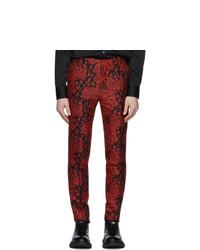 Pantalón chino estampado burdeos de Alexander McQueen