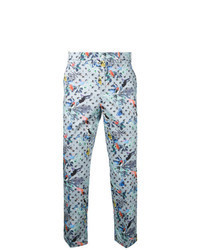 Pantalón chino estampado celeste