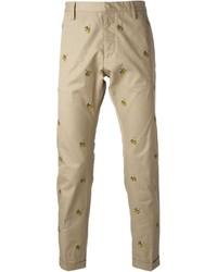 Pantalón chino estampado marrón claro