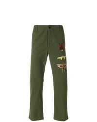 Pantalón chino estampado verde oliva de Gucci