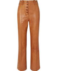 Pantalón de campana de cuero marrón claro de 3.1 Phillip Lim