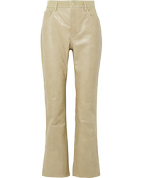 Pantalón de campana de cuero marrón claro de Acne Studios