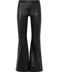 Pantalón de campana de cuero negro de Alexander McQueen
