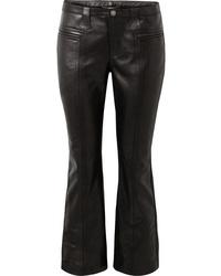 Pantalón de campana de cuero negro de Saint Laurent