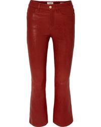 Pantalón de campana de cuero rojo de Frame