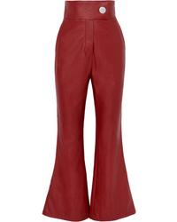 Pantalón de campana de cuero rojo de Sara Battaglia