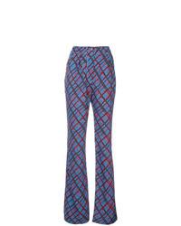 Pantalón de campana de tartán azul de Marni