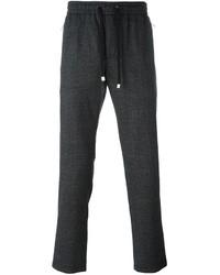 Pantalón de Chándal de Lana a Cuadros en Gris Oscuro de Dolce & Gabbana