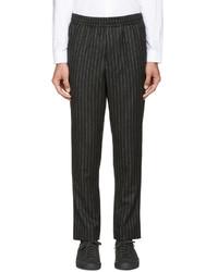 Pantalón de chándal de lana de rayas verticales en gris oscuro de AMI Alexandre Mattiussi