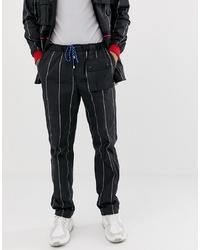 Pantalón de chándal de rayas verticales en negro y blanco de Lyph