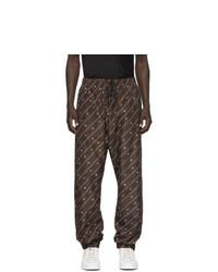 Pantalón de chándal estampado en marrón oscuro de Fendi